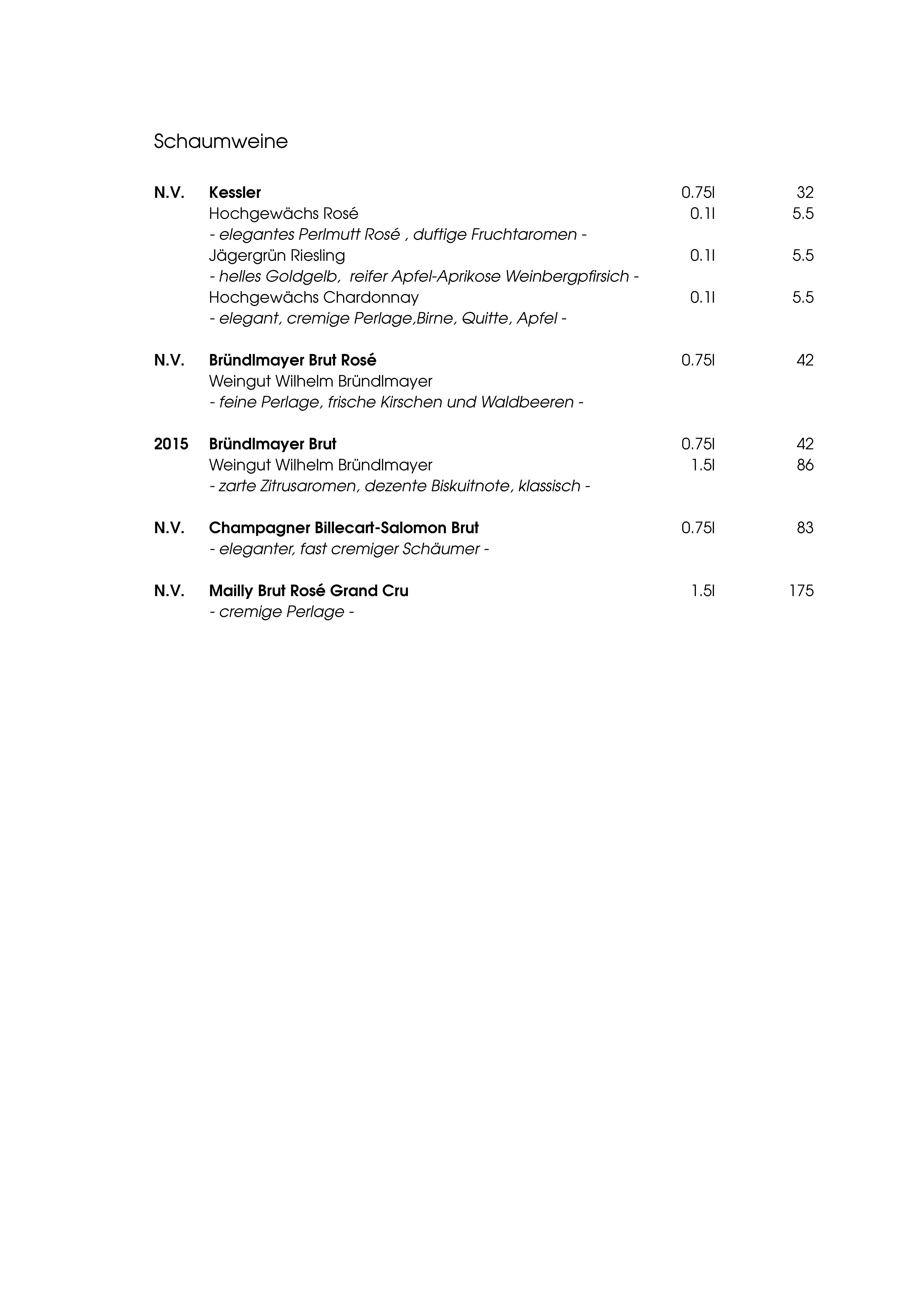 """Speisekarte """"zum Heurigen"""", Seite 10"""