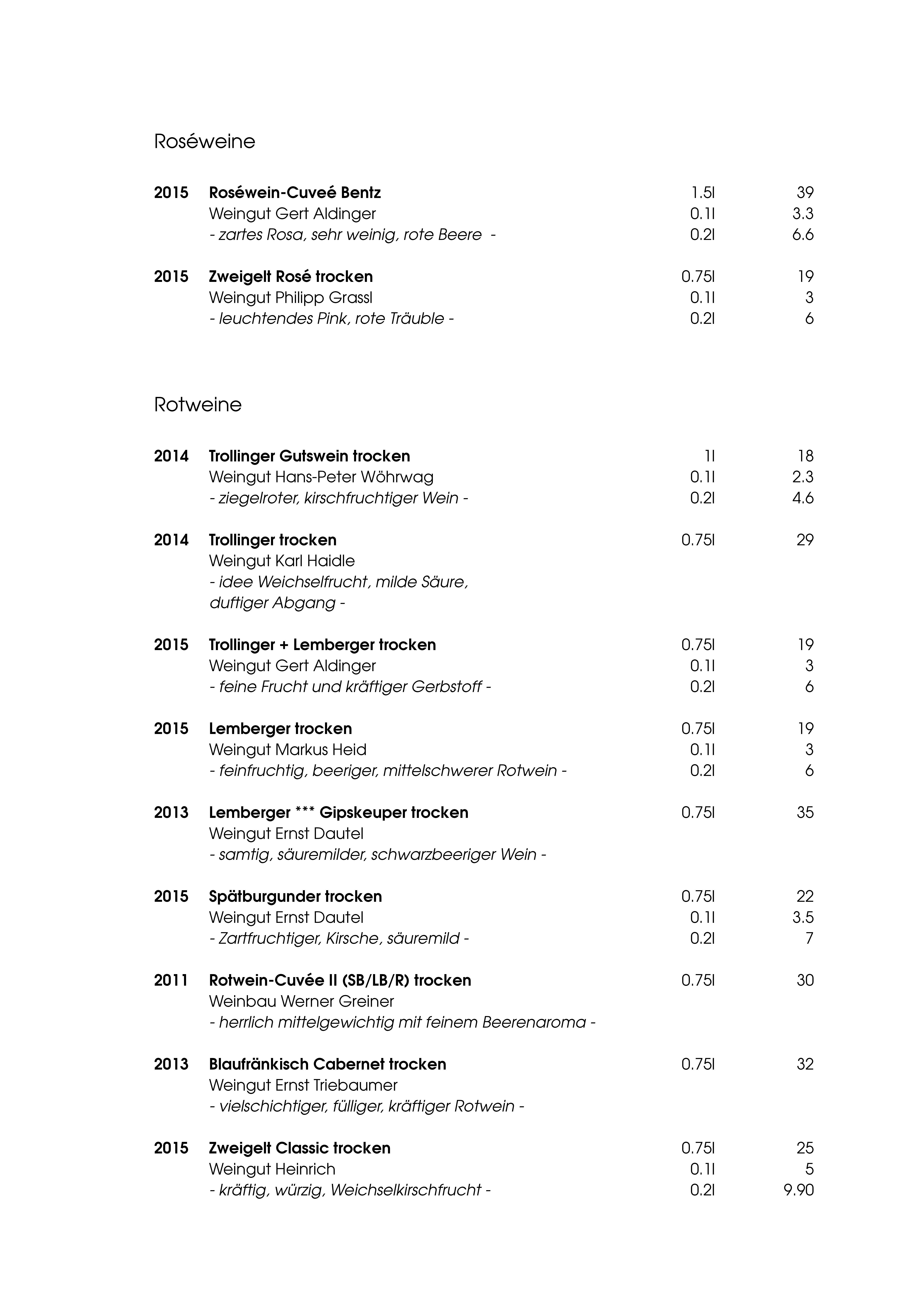 """Speisekarte """"zum Heurigen"""", Seite 13"""