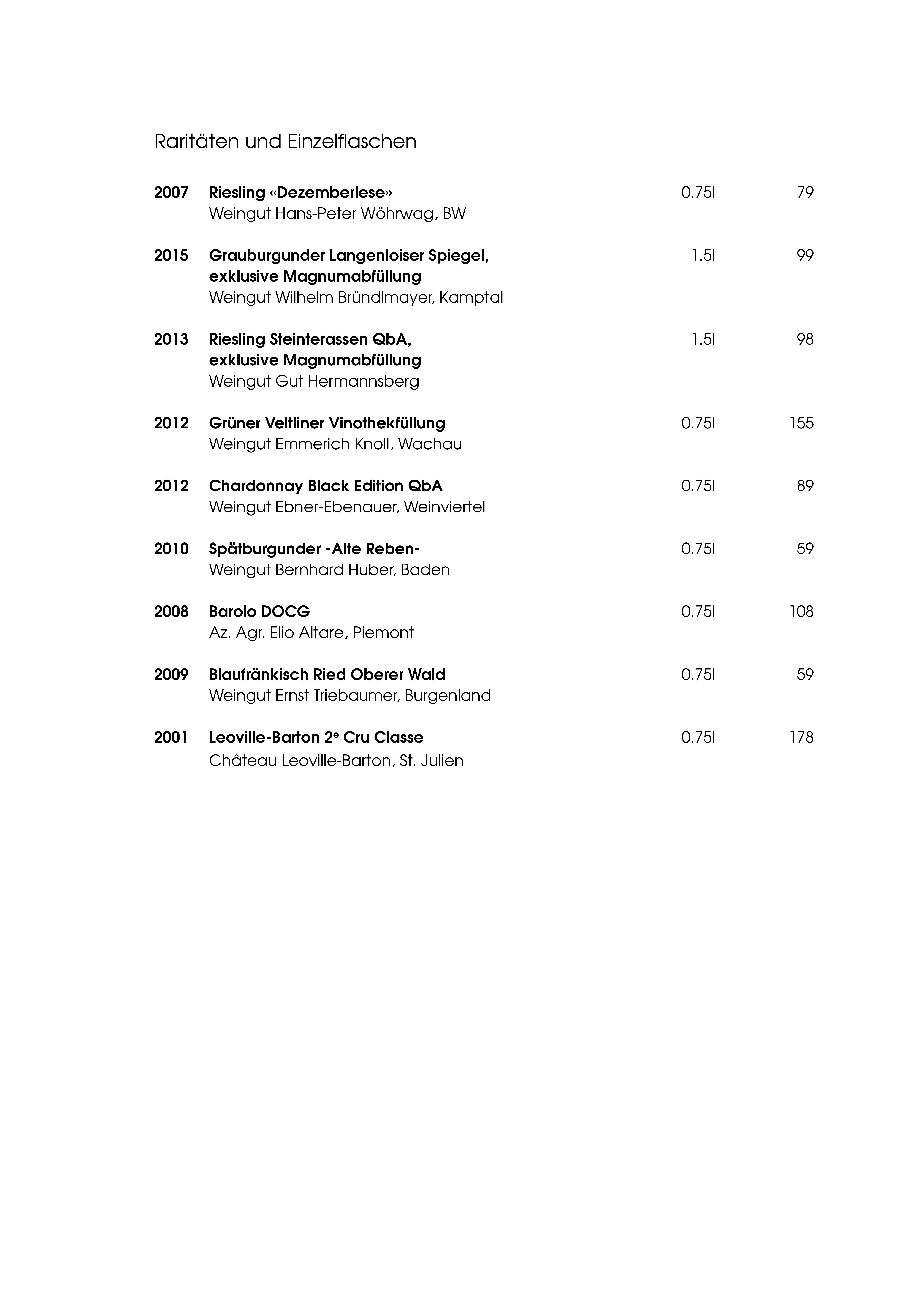 """Speisekarte """"zum Heurigen"""", Seite 15"""