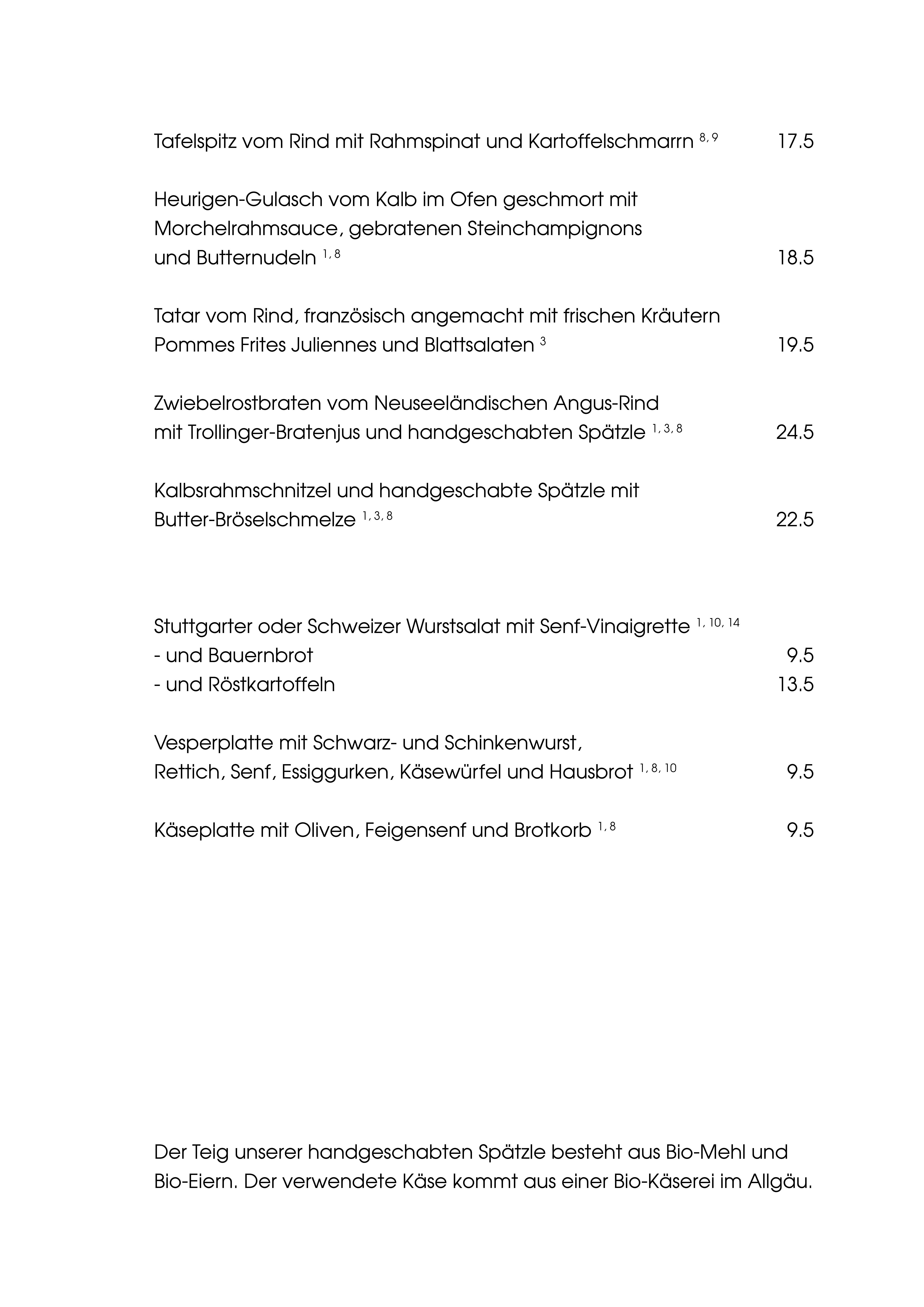 """Speisekarte """"zum Heurigen"""", Seite 2"""