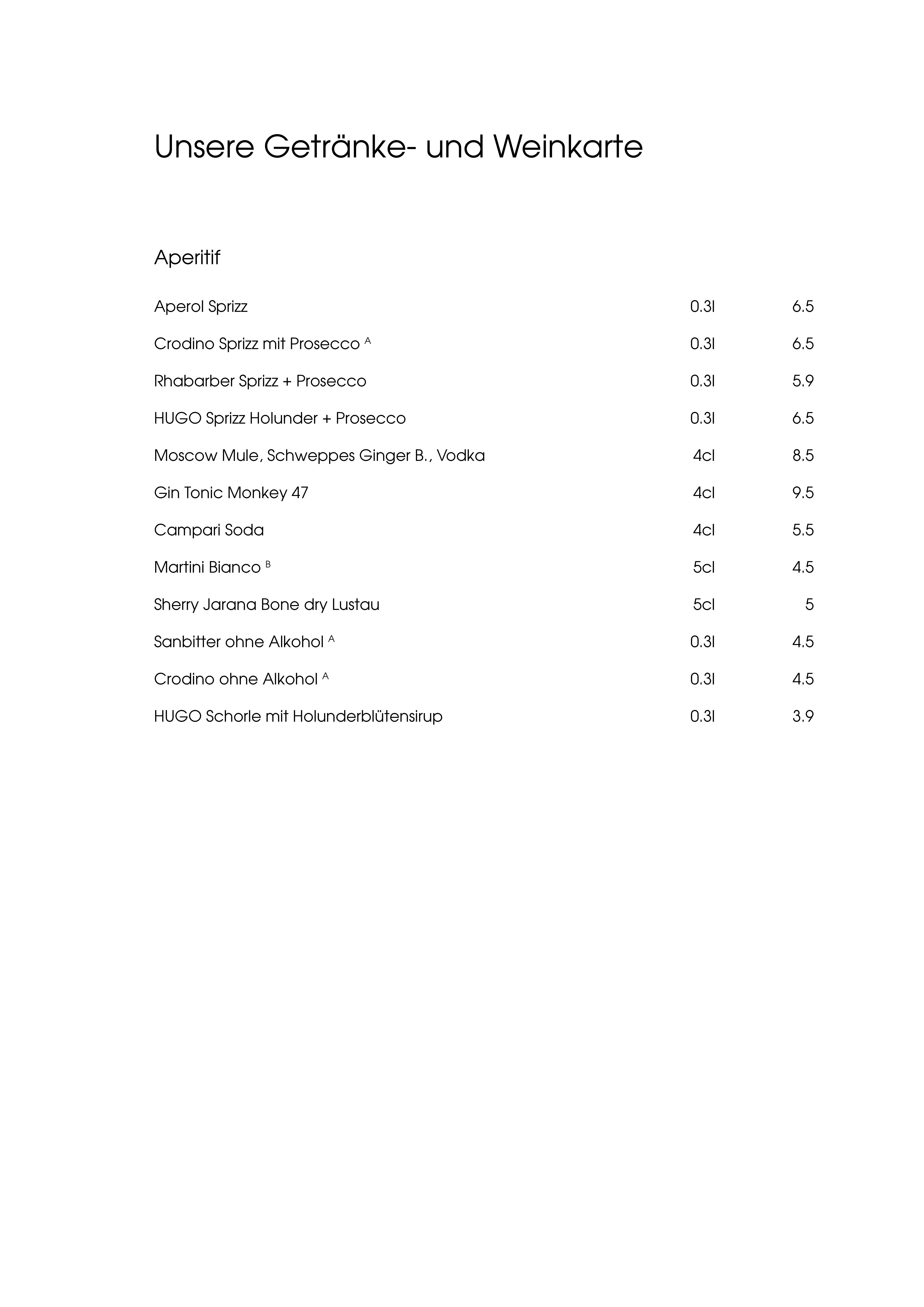 """Speisekarte """"zum Heurigen"""", Seite 5"""
