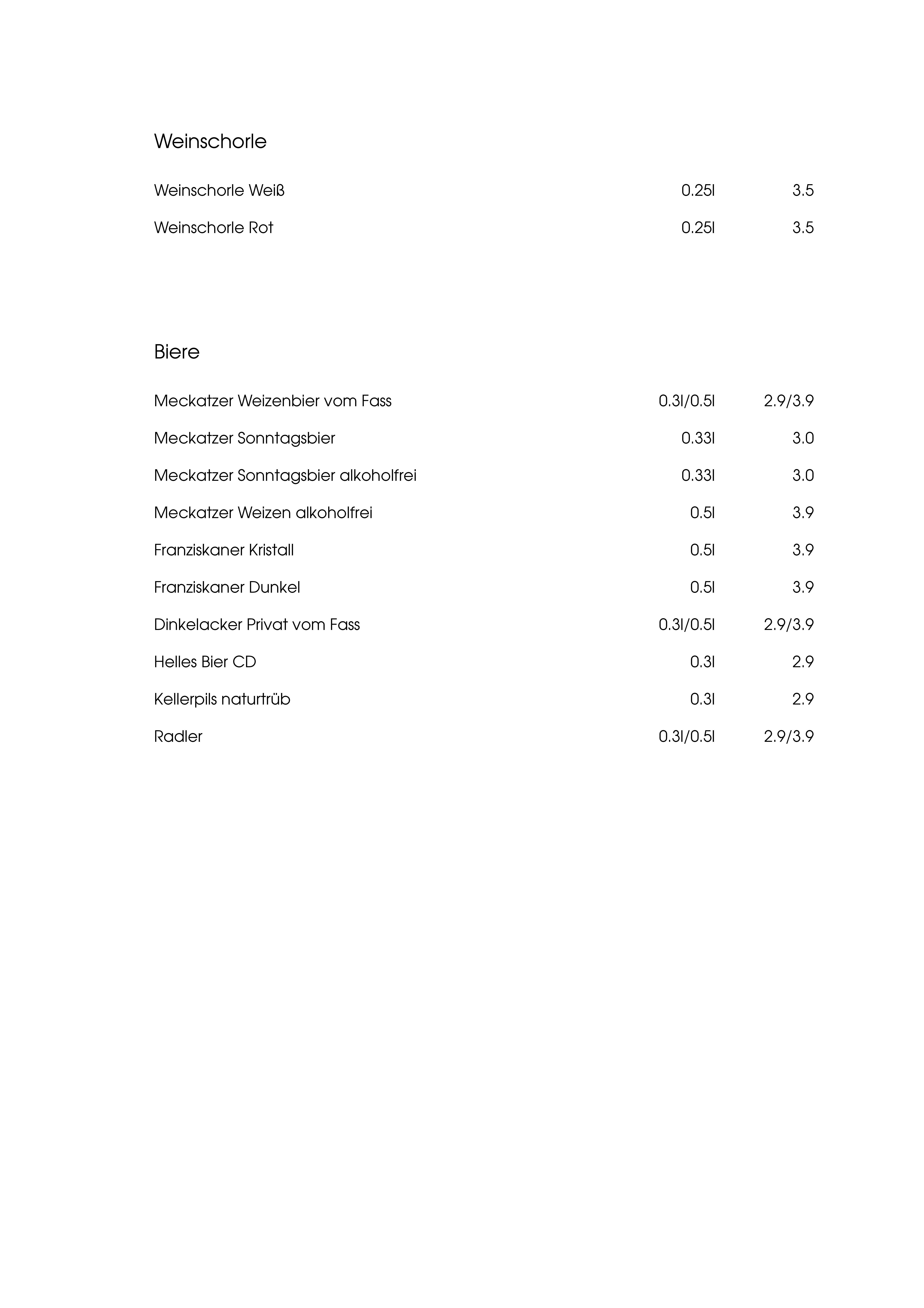 """Speisekarte """"zum Heurigen"""", Seite 7"""
