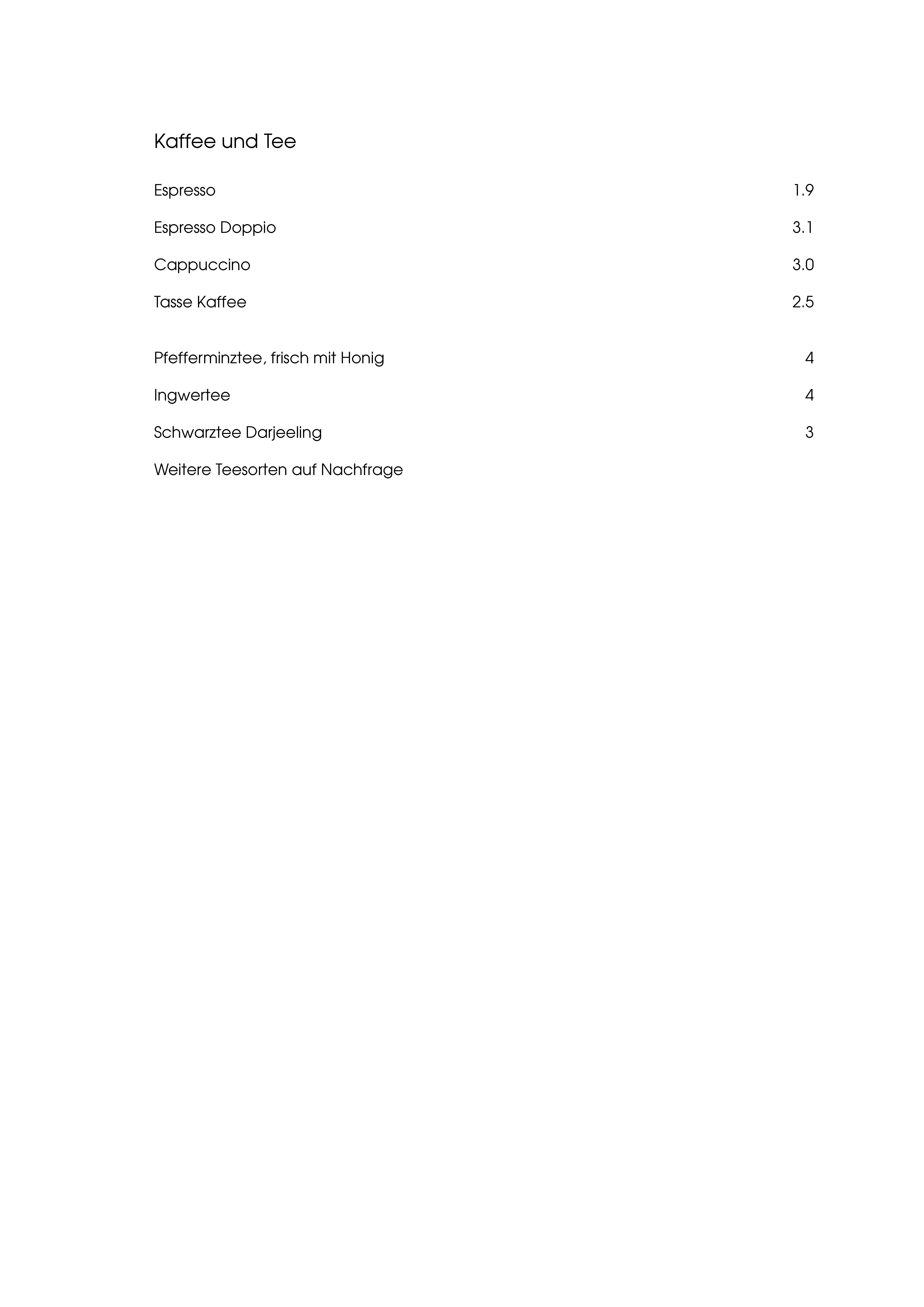 """Speisekarte """"zum Heurigen"""", Seite 8"""