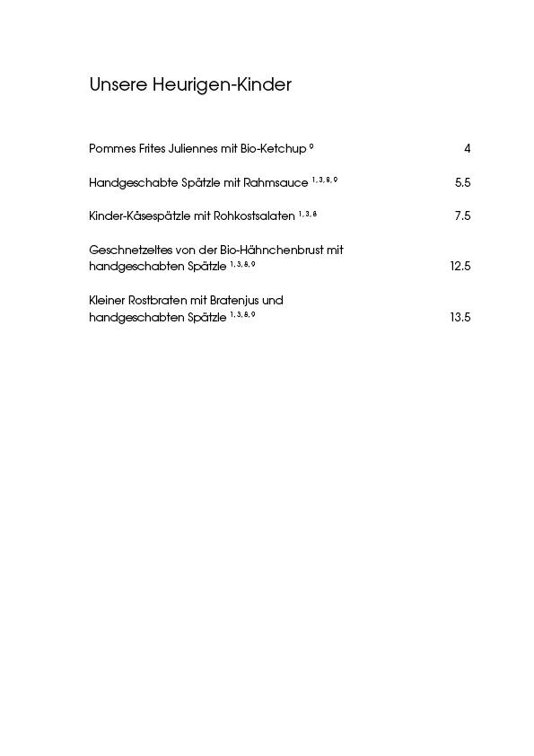 """Speisekarte """"zum Heurigen"""", Seite 4"""