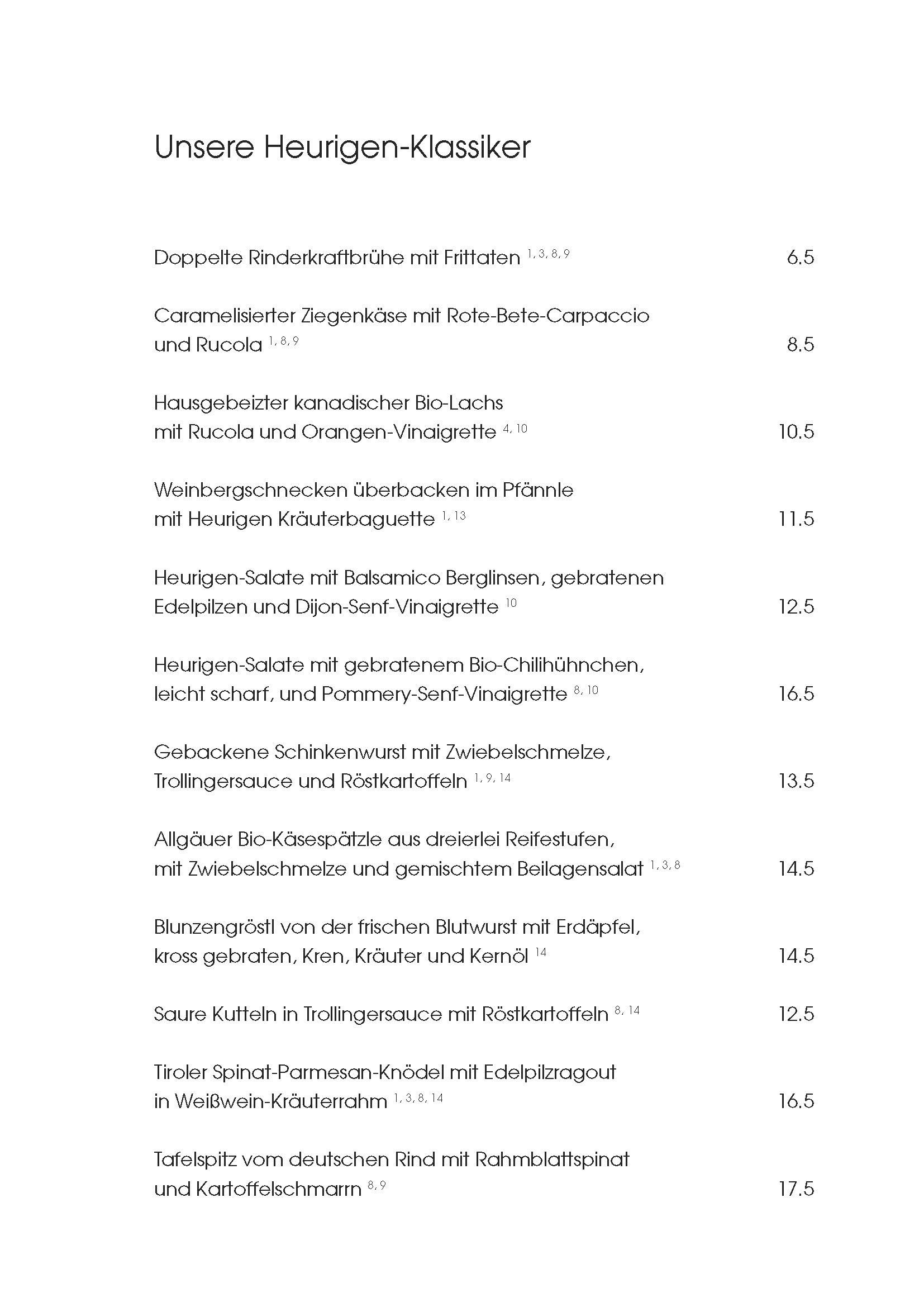"""Speisekarte """"zum Heurigen"""", Seite 1"""