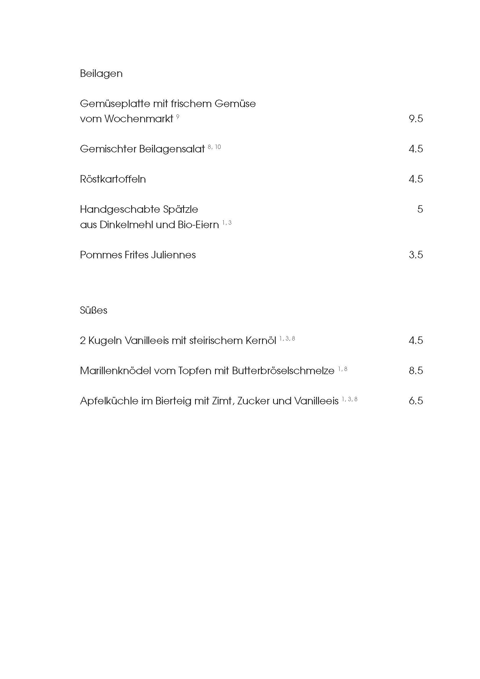 """Speisekarte """"zum Heurigen"""", Seite 3"""